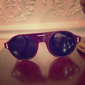 Burgundy plastic frame round sunglasses